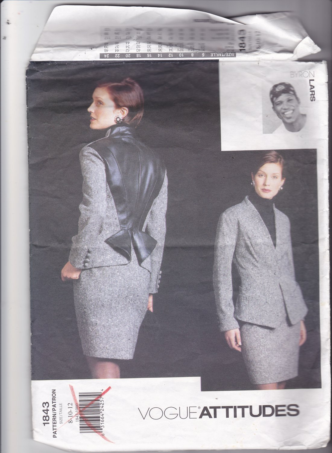 Vogue 1843 Pattern 8 10 12 Uncut Attitudes Byron Lars Lined Jacket Skirt Contrast Back