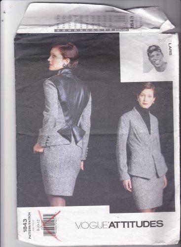 Vogue 1843 Pattern 8 10 12 Uncut Attitudes Byron Lars Lined Jacket Skirt Contrast Back