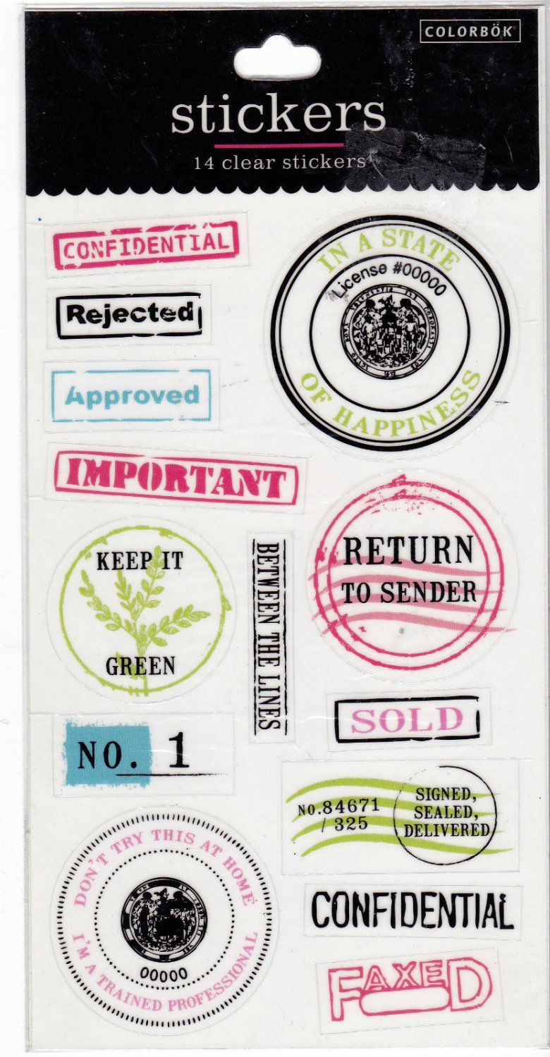 Sheet of 14 Colorbok Clear Stamp Stickers Scrapbooking 55815