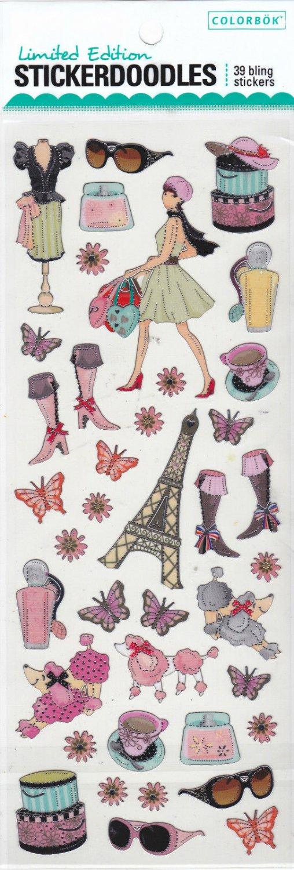 Limited Edition Colorbok Stickerdoodles Paris Fashion 39 Bling Foil Stickers