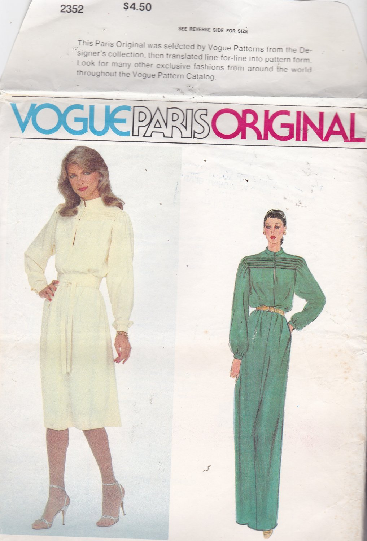 Vogue Paris Original 2352 Pattern 10 Uncut Designer Nina Ricci Pullover Dress Tucks Long Sleeves