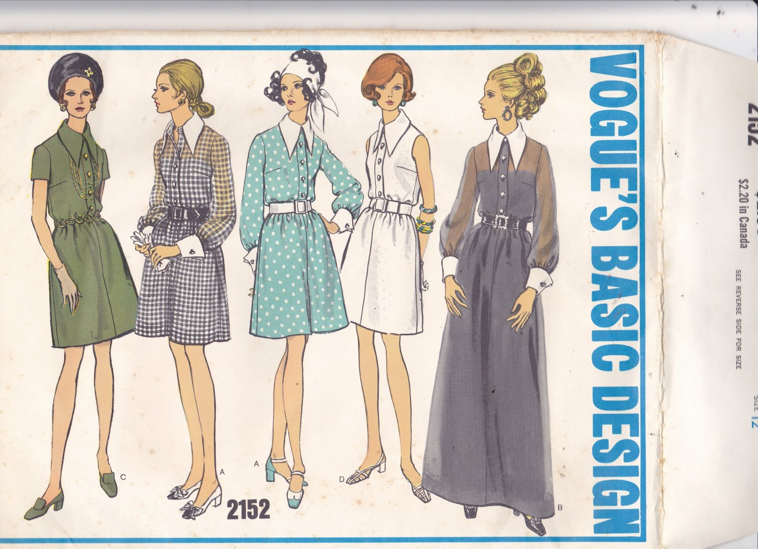 Vogue Basic Design 2152 Pattern 12 Uncut Shirtwaist Dress vintage 1960s