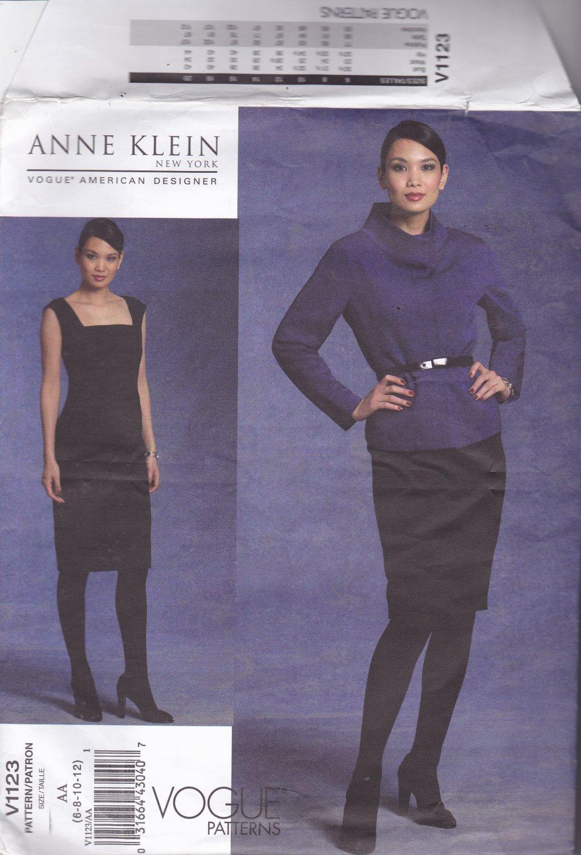 Vogue 1123 Pattern Uncut 6 8 10 12 Anne Klein Jacket Dolman Sleeves Semi Fitted Dress