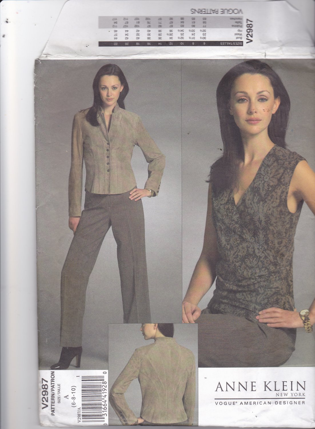 Vogue 2987 Pattern Uncut 6 8 10 Anne Klein Lined Jacket Princess Seams Lined Wrap Top Lined Pants