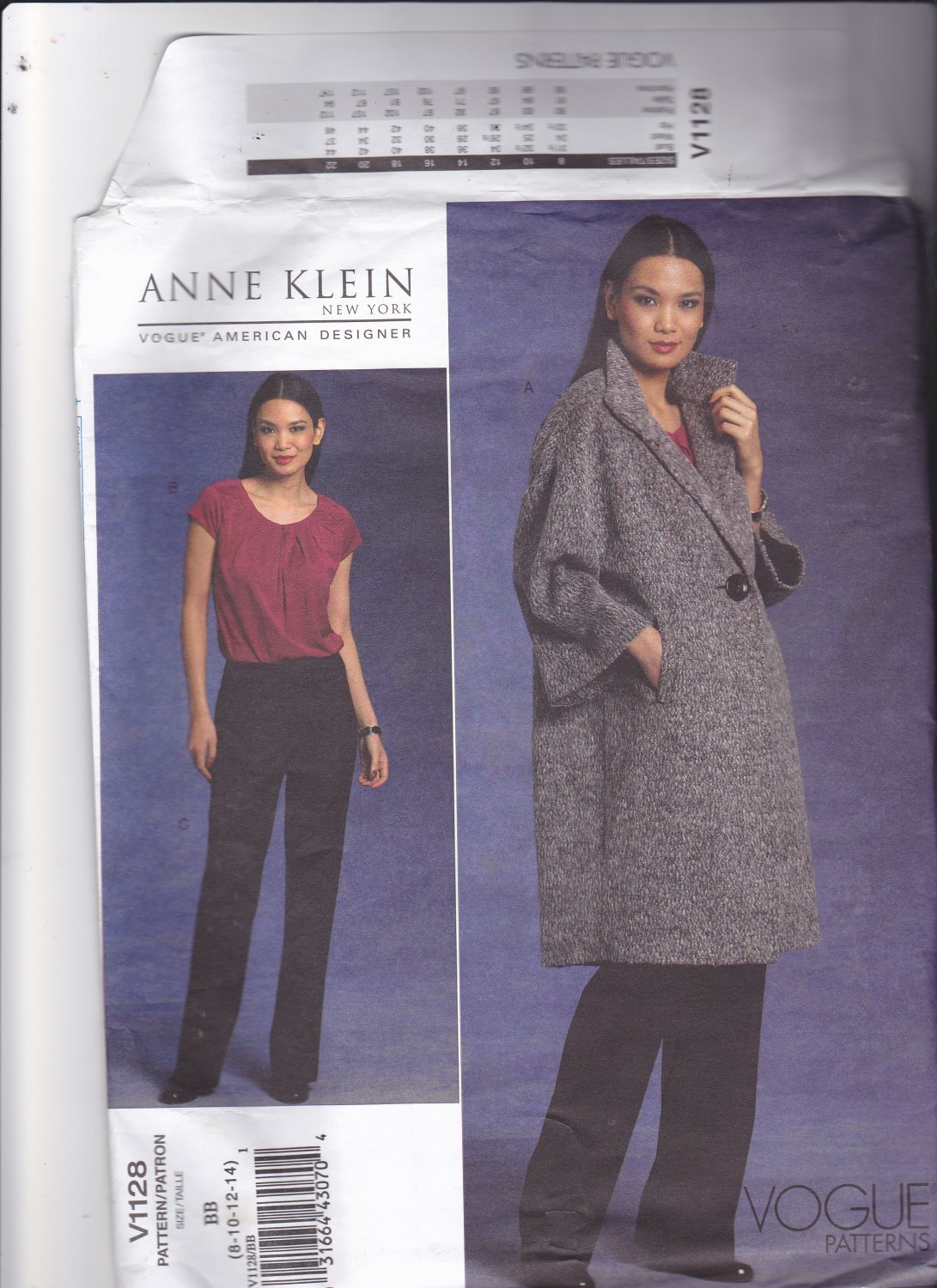 Vogue 1128 Pattern Uncut 8 10 12 14 Anne Klein Lined Coat Cap Sleeve Top Unlined Pants