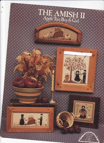 The Amish II Apple Tree Boy + Girl booklet Counted Cross Stitch Homespun Elegance