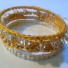 Stack of 4 Yellow and Ivory Crochet Bangle Bracelets with Glass Beads