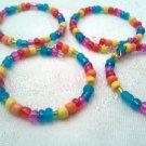 Handmade Rainbow Glass Bead Napkin Rings Set of 4