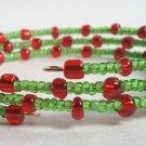 Handmade Red Green Memory Wire Glass Beaded Bracelet