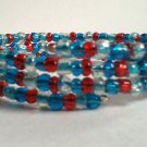 Handmade Teal Aqua Red Memory Wire Glass Beaded Bracelet
