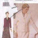 Vogue Woman 9292 Easy Pattern 8 10 12 Lined Jacket Skirt Uncut