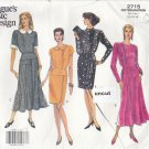 Vogue 2715 Pattern 12 14 16 Easy Dress w/ Cuff, Skirt, Overlay Variations Uncut