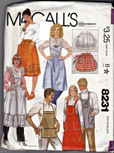 OOP 8231 McCall's Pattern Aprons Men Women Uncut