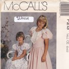 McCall's P213 Pattern Uncut size 3 4 5 Girls Dress Fitted Bodice Lantern Sleeves Gathered Skirt
