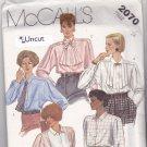 McCall's 2070 Pattern 14 Bust 36 Uncut Blouse Tuxedo-Style Bib Jabot Tie Long Sleeves
