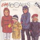 McCall's 2785 Pattern Uncut 4 Boys Girls Children Kids Unlined Coat Detachable Hood Toggle Clasps