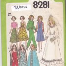 Simplicity 8281 Pattern Uncut 11.5 inch Fashion Doll Barbie Bride Cape Bell Bottoms Tiered Dress