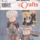 Simplicity Crafts 8457 Pattern Uncut 20 inch Pigs and Clothes Chef Maid Butler Faith Van Zanten