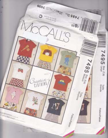 McCall's 7495 Pattern Uncut Medium 5 6 T-Shirts Pants Shorts Children Kids Boys Girls