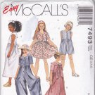 McCall's 7493 Pattern Uncut size 3 4 5 Girls Button Front Short or Long Midi Dress Jumpsuit