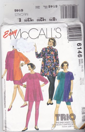 McCall's 6146 Pattern Small 10 12 Uncut Maternity Top Skirt Pants Shorts for Knits Only