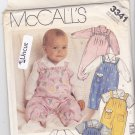 McCall's 3341 Pattern Uncut Babies Infants Overalls Short-All Ruffles Tucks Shirt Softie Dog Toy