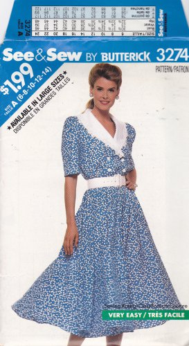 Butterick See & Sew 3274 Pattern 6 8 10 12 14 Uncut Flared Skirt Shirtwaist Dress Modest