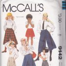 McCall's 9142 Pattern Uncut Girls 12 Culottes Left Side Front Buttons