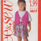 Butterick See & Sew 4817 Pattern Uncut 2 3 4 Lined Vest Shorts Top Shirt Toddlers