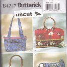 Butterick B 4247 Pattern Uncut Handbags for Pre-quilted or Non-Quilted Fabrics Contrast Bands
