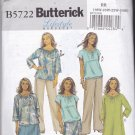 Butterick B5722 Pattern Uncut 18W 20W 22W 24W Boho Top Dress Pull On Skirt Pants Easy Plus