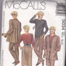 McCall's 5034 Pattern Uncut 10 12 Loose Fit Jacket Back Inverse Pleat Skirt Top