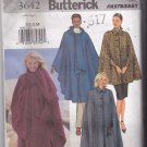 Butterick 3642 Pattern XS S M uncut Classic Cape Outerwear Collar or Attached Scarf Easy to Sew