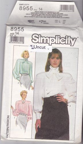 Simplicity 8955 Pattern Uncut 14 Dressy Blouse Long Very Full Sleeves 1980s