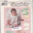 Simplicity 7783 Uncut 18 months Baby Infant Top Apron Dress Pants Panties Ruffles Puffy Sleeves