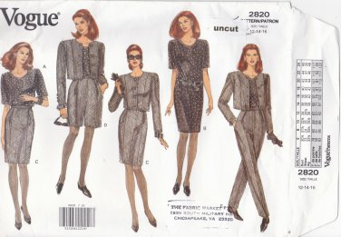 Vogue 2820 Pattern 12-14-16 Easy Jacket Dress Top Skirt Shorts Pants Uncut