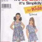 Simplicity 8042 Uncut Girls 7 8 10 12 14 16 T-Shirt Top Shorts Dress Play Clothes