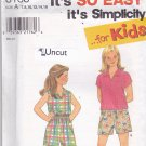 Simplicity 8183 Uncut Girls 7 8 10 12 14 16 Pullover Top Shirt Shorts Summer Play Clothes Easy