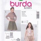 Burda 9454 Uncut Girls 7 8 10 11 12 13 Drop Waist Dress Round or Cowl Neckline