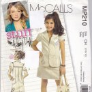 McCall MP210 Girl's Jacket Skirt Sewing Pattern size 7 8 10 uncut Hilary Duff