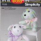 Simplicity 1535 Crafts Sewing Pattern Uncut Plushie Softie Stuffed Toy Dog Lamb