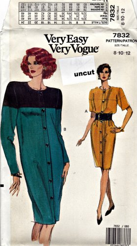 Vogue 7832 Pattern 8 10 12 Very Easy Straight Dress Shoulder Pads Uncut