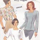 Vogue 8257 Pattern 12 14 16 Very Easy Blouse Shoulder Pads Square Neckline Uncut