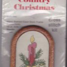 What's New Cross Stitch Ornament Kit Country Christmas Candle 2x3 inches