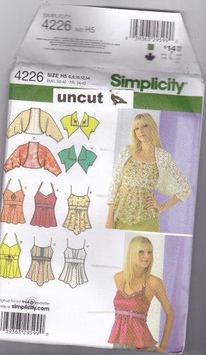 Simplicity 4226 Pattern Tops Bolero Shrug 6 8 10 12 14 Uncut