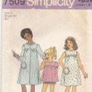 Simplicity 7509 Uncut 7 Girls Shortie Pajamas Night Gown Robe PJs
