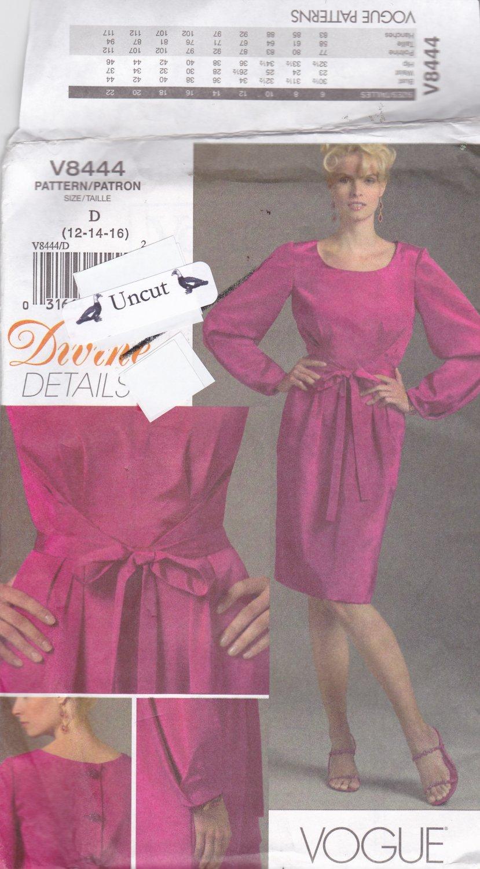e460e827d49d6 Vogue V 8444 Pattern Uncut Dress Divine Details Pleats size 12 14 16 Full  Long Sleeves