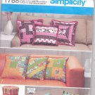 Simplicity 1788 Pattern Uncut 14 16 18 inch Patchwork Pillows Jelly Roll Shirley Botsford