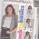 McCall 5931 Uncut Below Hip Jacket 10 12 14 Notched Collar Long or Short Sleeves