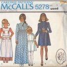 Vintage McCall Pattern 5278 Girls' Dress Apron Laura Ashley size 5